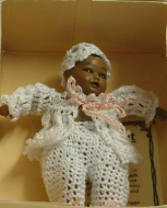 Heidi Ott Dolls House Doll, Baby Dark Skinned Baby in a White Outfit (XB040)