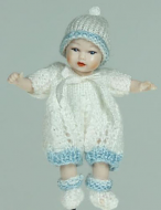 Heidi Ott Dolls House Doll, Baby Boy in a White Outfit (XB044)