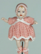 Heidi Ott Dolls House Doll, Baby Girl in a Pink Outfit (XB045)