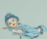 Heidi Ott Dolls House Doll, Baby Boy in a Light Blue Outfit (XB047)