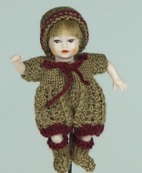 Heidi Ott Dolls House Doll, Baby (Brown Outfit) (XB048)