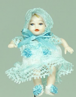 Heidi Ott Dolls House Doll, Baby (blue dress) (XB049)