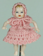 Heidi Ott Dolls House Doll, Baby Girl in a Pink Knitted Dress (XB051)