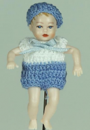 Heidi Ott Dolls House Doll, Baby Boy in a Blue & White Outfit (XB052)