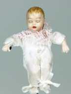 Heidi Ott Dolls House Doll, Sleeping Baby in a White Outfit (XB053)