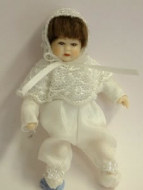Heidi Ott Dolls House Doll, Toddler in White (XB503)