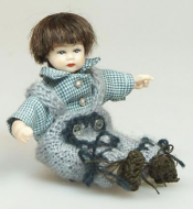 Heidi Ott Dolls House Doll, Toddler Boy in Blue and Grey (XB506)