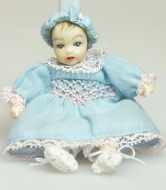 Heidi Ott Dolls House Doll, Toddler in a Blue Dress (XB507)