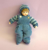 Heidi Ott Dolls House Doll, Toddler Boy in Dungarees (XB509)