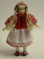 Heidi Ott Dolls House Doll, Young Girl in a Red Dress (XC010)