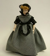 Heidi Ott Dolls House Doll, Lady with Dark Outfit (X029)