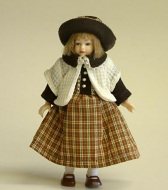 Heidi Ott Dolls House Doll, Young Girl in Brown and Cream (XC027)