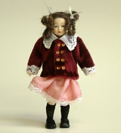 Heidi Ott Dolls House Doll, Young Girl in Burgundy Jacket. (XC030)