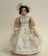 Heidi Ott Dolls House Doll, Maid with Pink Check (X012)