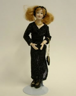 Heidi Ott Dolls House Doll, Lady Wearing a Black Dress (X041)