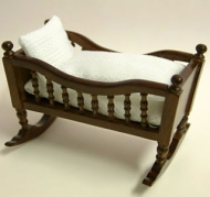 Mahogany Babies Cradle, Dolls House Miniature (XY101M)
