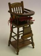 Walnut Child's Highchair, Dolls House Miniature (XY107W)