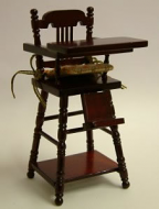 Mahogany Child's Highchair, Dolls House Miniature (XY108M)