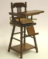 Walnut Child's Highchair, Dolls House Miniature (XY108W)