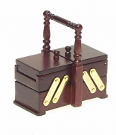 Dolls House Miniature Mahogany Sewing Box (XY202M)