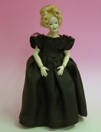 Heidi Ott Dolls House Doll, Lady Wearing a Black Evening Dress (X045)