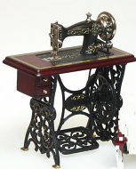 Dolls House Miniature Mahogany Treadle Sewing Machine (XY208M)