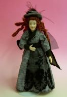 Heidi Ott Dolls House Doll, Lady Wearing Dog Tooth Check (X048)