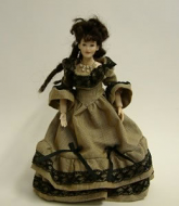 Heidi Ott Dolls House Doll, Lady Wearing Brown Stripe Black Lace (X049)