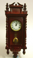 Mahogany Working Dolls House Wall Clock, Dolls House Miniature (XY403M)