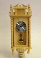 Pine Working Dolls House Wall Clock, Dolls House Miniature (XY403P)