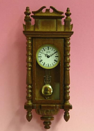 Walnut Working Dolls House Wall Clock, Dolls House Miniature (XY403W)