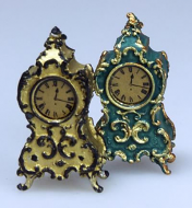 Set of 2 Gilt Clocks, Dolls House Miniatures (XY410)