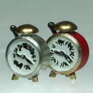 Set of 2 Alarm Clocks, Dolls House Miniature (XY414)