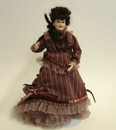 Heidi Ott Dolls House Doll, Lady in Mulberry Dress (X051)