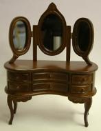 Dolls House Miniature Walnut Dressing Table with Mirror (XY500W)