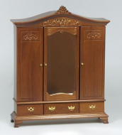Dolls House Miniature Walnut Wardrobe (XY550W)
