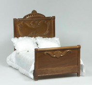 Dolls House Miniature Walnut Double Bed (XY551W)