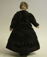 Heidi Ott Dolls House Doll, Old Lady in a Dark Dress (X055)