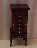 Dolls House Miniature Mahogany Jewellery Cabinet (XY605M)