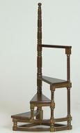 Dolls House Miniature Walnut Library Style Steps (XY715W)