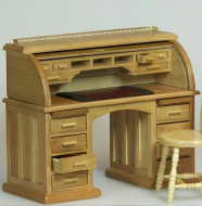 Dolls House Miniature Oak Secretaire/Bureau (XY750OAK)
