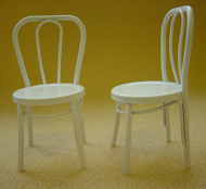 Pair of Dolls House Iron Bistro Chairs (White) (XY781W)