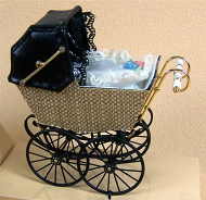 Antique Wicker Style Pram, Dolls House Miniature (XZ109)
