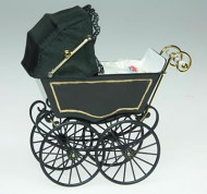 Dolls House Miniature Antique Black Pram (XZ110)