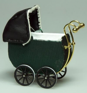 Dolls House Green Toy Pram (XZ112)