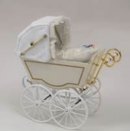 Antique Pram in White, Dolls House Miniature (XZ114)