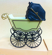 Antique Pram in Cream & Green, Dolls House Miniature (XZ115)