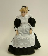 Heidi Ott Dolls House Doll, Young Maid with Black & White Dress (X018)