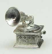 Dolls House Miniature Pewter Gramophone (x2) (XZ259)