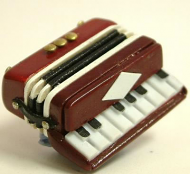 Dolls House Miniature Red Accordion (XZ309)